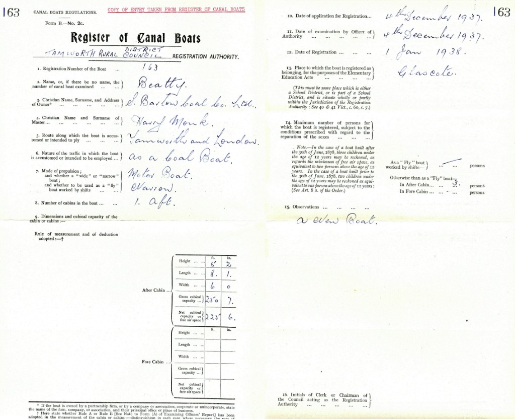 Certificate from Register of Canal Boats
