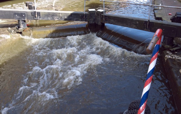 A lock with water over top gates